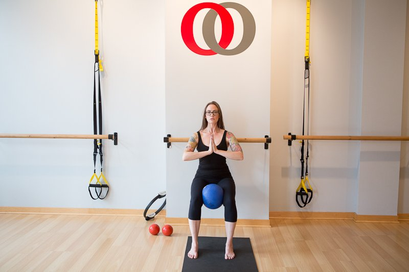 Wall/Barre Sit with Playground Ball (inner thigh squeeze)